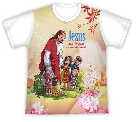 Camiseta Infantil Jesus Coração Cheio de Amor