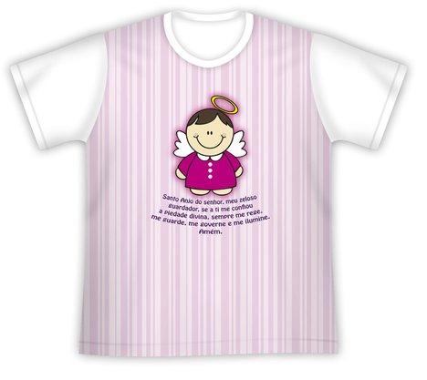 Camiseta Infantil Santo Anjo rosa