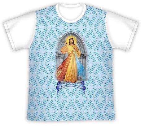 Camiseta Juvenil Jesus Misericordioso azul