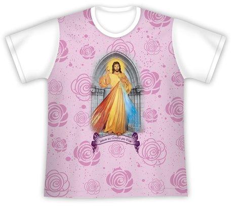 Camiseta Juvenil Jesus Misericordioso rosa