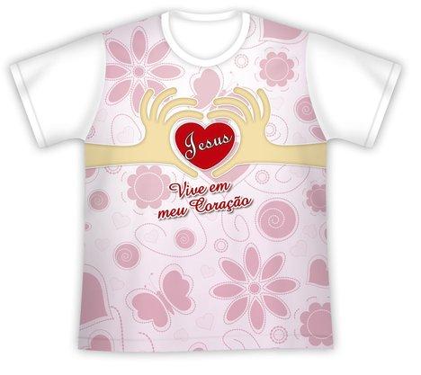 Camiseta Juvenil Jesus Vive em meu Coração