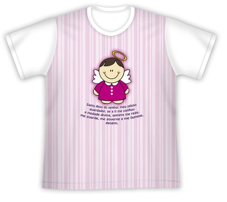 Camiseta Juvenil Santo Anjo rosa