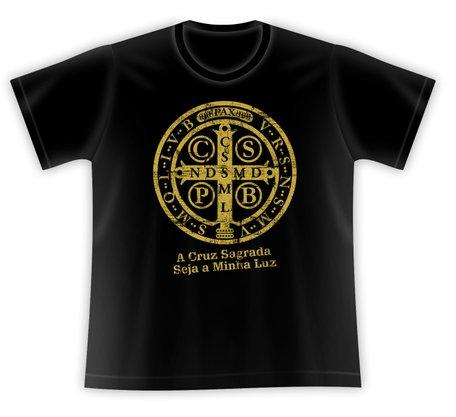 Camiseta Medalha de São Bento Dourado