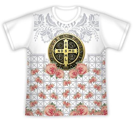 Camiseta Medalha de São Bento Floral