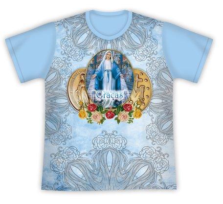 Camiseta Medalha Nossa Senhora das Graças Azul