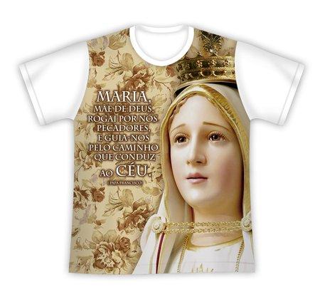 Camiseta N Sra de Fátima Mensagem Papa Francisco