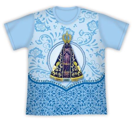 Camiseta Nossa Senhora Aparecida Floral Azul