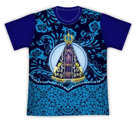 Camiseta Nossa Senhora Aparecida Floral Azul Marinho