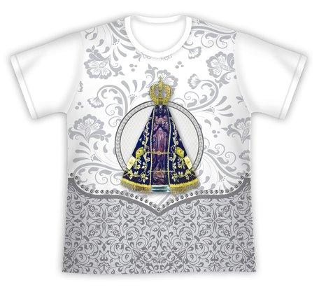 Camiseta Nossa Senhora Aparecida Floral Branca