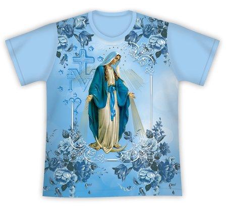 Camiseta Nossa Senhora das Graças Floral Azul