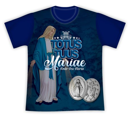 Camiseta Nossa Senhora das Graças Totus Tuus Azul