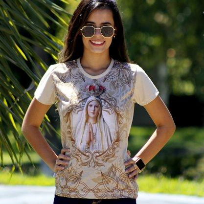 Camiseta Nossa Senhora de Fátima Floral