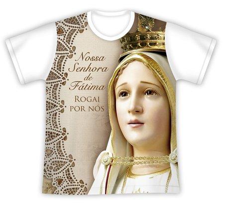 Camiseta Nossa Senhora de Fátima Rogai por nós