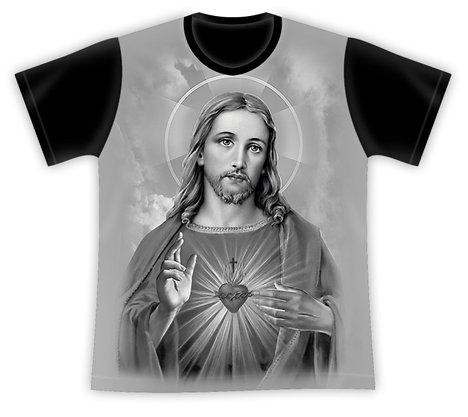 Camiseta Sagrado Coração de Jesus Cinza