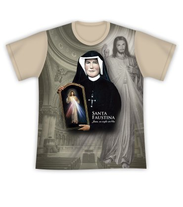 Camiseta Santa Faustina e Jesus Misericordioso