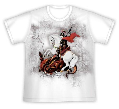 Camiseta São Jorge Branca Estampa Colorida