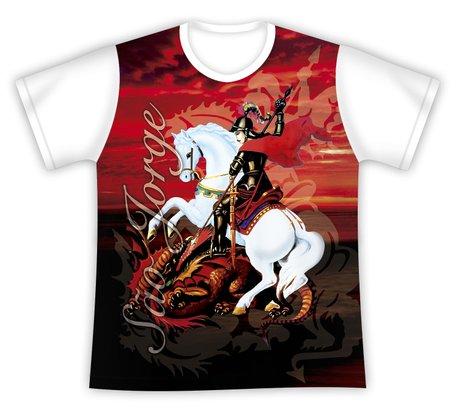 Camiseta São Jorge Fundo Vermelho