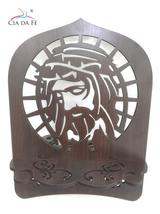 Porta Bíblia Vazado Face de Cristo em MDF - Médio