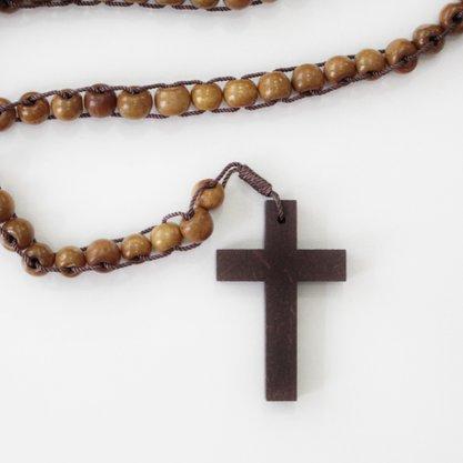 Terço das mil Ave Marias - conta de madeira Nº8