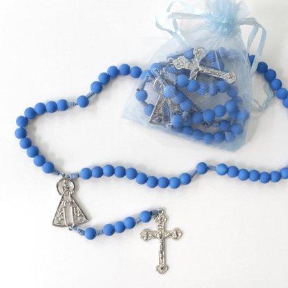 Terço Emborrachado 8MM Nossa Senhora Aparecida Azul