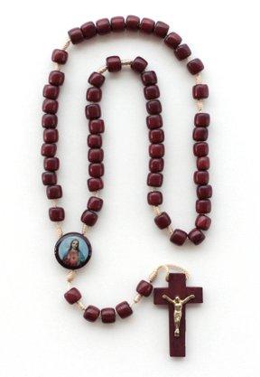Terço Sagrado coração de Jesus em Madeira Pau Brasil